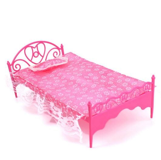 Детские Игрушки Dollhouse Пластиковые Кровать С Кружевом Простыня и Подушка Мебель для Барби Куклы Мебель Для