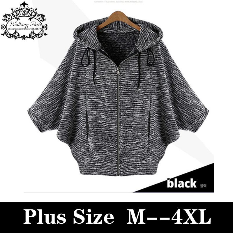 Plus Size Cardigan Autumn Jackets and Coats European Cashmere Coat Knitting Batwing Sleeve Fashion Zipper Loose Outerwear M-4XL Одежда и ак�е��уары<br><br><br>Aliexpress