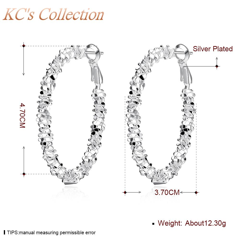 2016 New Women Silver Plated 3.7*4.7CM Big Round Circle Hoop earrings Party Top fashion Jewelry Gift Hot Sale Free Shipping(China (Mainland))