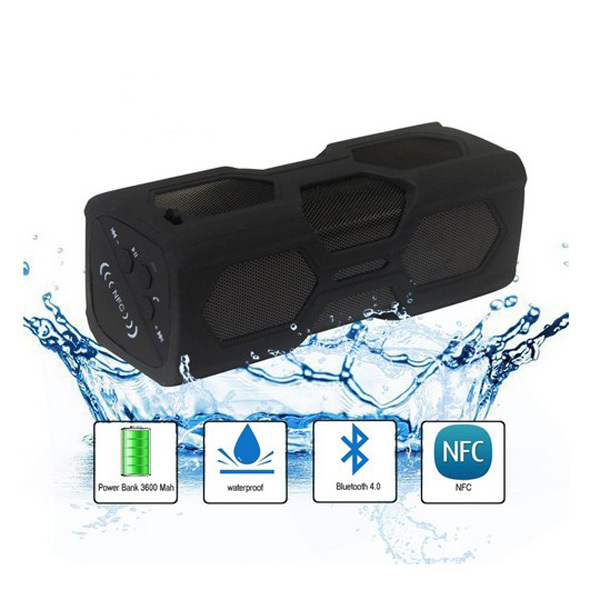 Portable Wireless Bluetooth V4.0  NFC Waterproof Water Resistance IPX4 Shockproof Dust proof Outdoor Shower Speaker Subwoofer(China (Mainland))