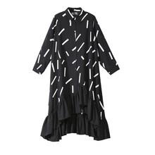 2019 נשים באביב בתוספת גודל שחור חולצה שמלת דפוס גיאומטרי לפרוע Hem ארוך שרוול Loose ליידי מפלגת שמלות Clubwear 3907(China)