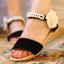 Plus Big size 34-43 Women Sandals Fashion Bohemia Beade Ankle Strap Flower Summer Shoes Open Toe Flats Heel Female Sandals