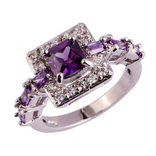 Wholesale Noble 766R1-10 Princess Cut Amethyst & White Topaz 925  Silver Ring Size 10 Free Shipping