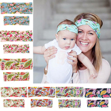 2Pcs/Set Mom and Me Boho Turban Headband Top Knotted Cross Knot Elastic Bowknot Matching Hair Band Baby and Mommy Headwrap Gifts