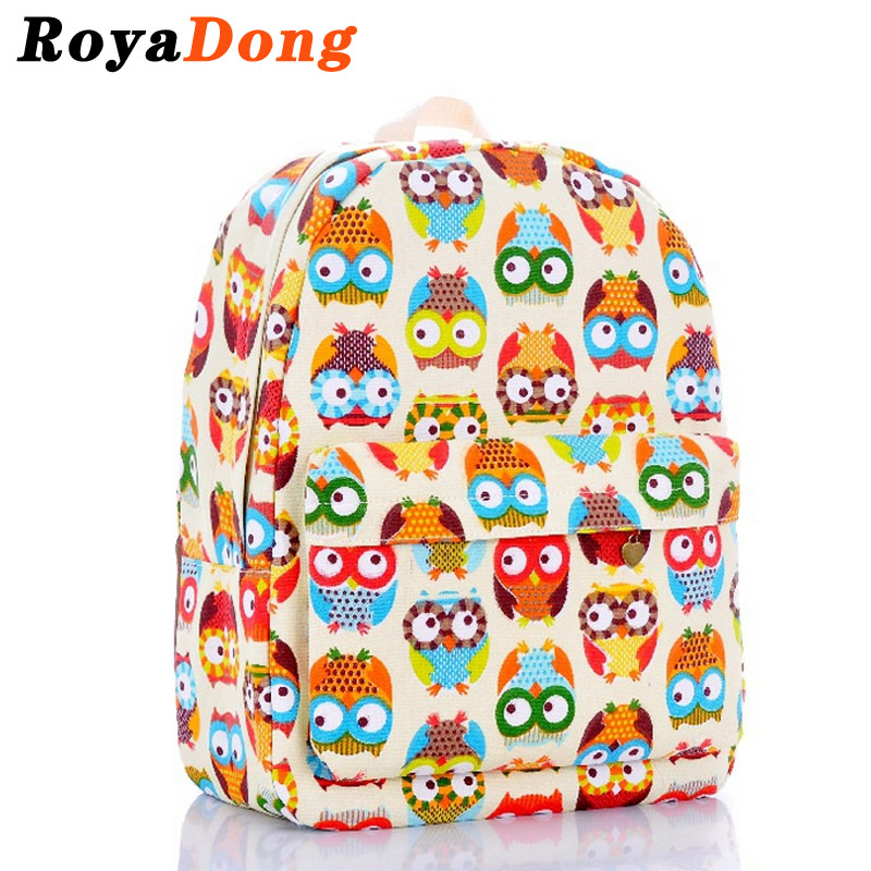 School Bags For Teenagers Girls Owl Backpack Women Mochila Satchel Rucksack Printing Backpack Canvas Colorful Escolar Sac A Dos(China (Mainland))