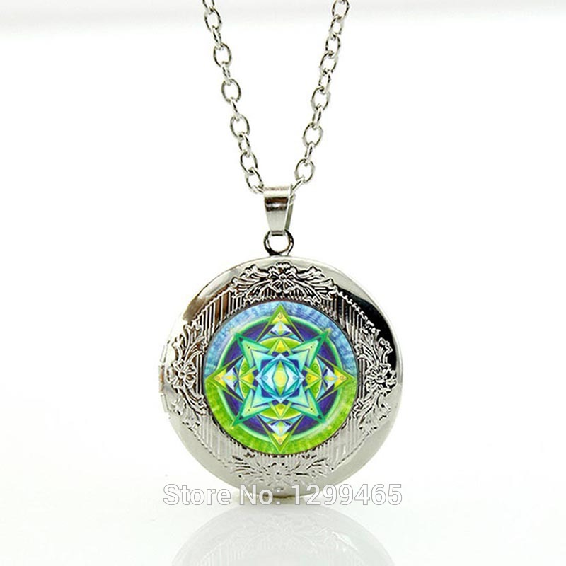 Mandala pendant necklace Hinduism accessories necklace glass cabochon pendant yoga necklace meditation locket pendants N295(China (Mainland))
