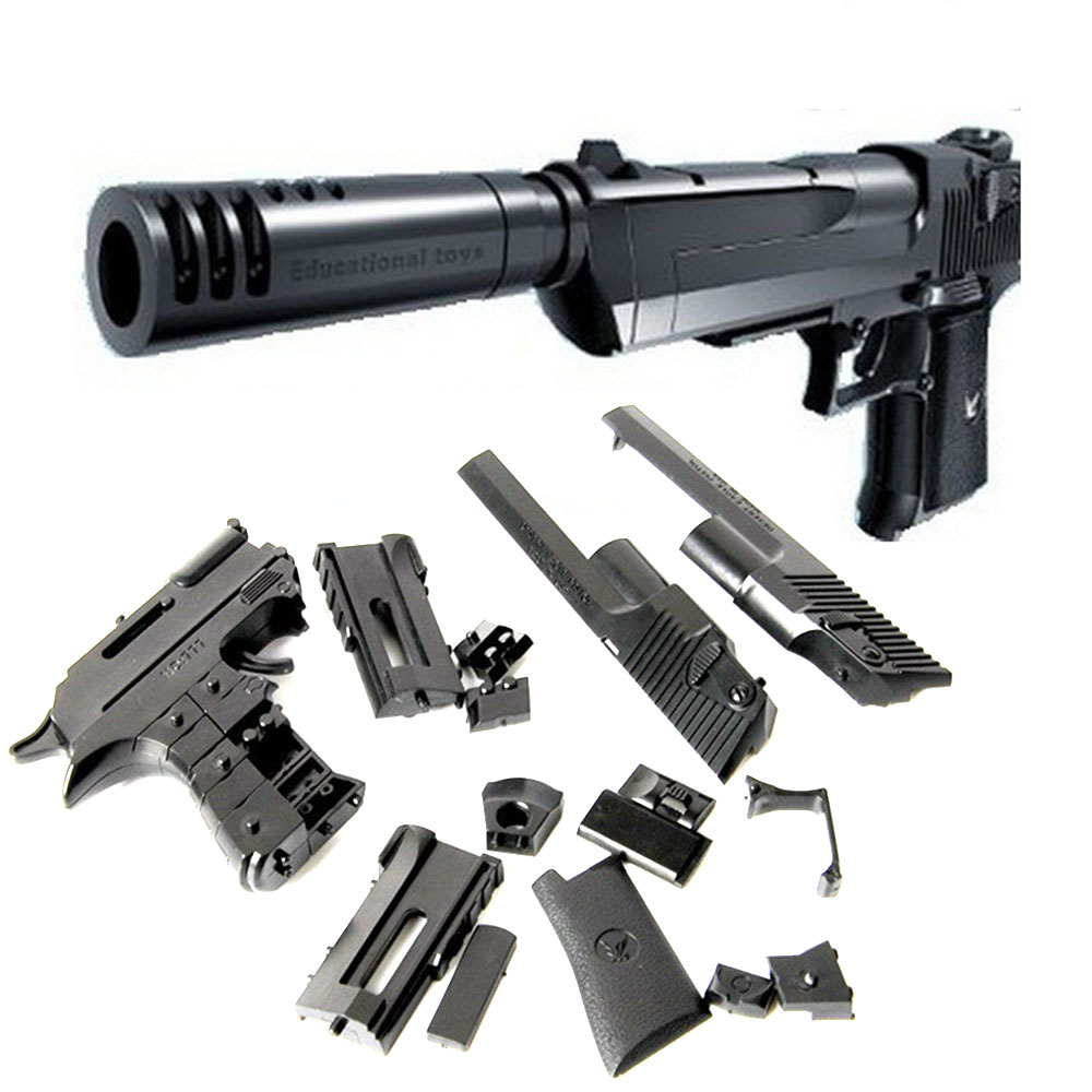 Desert Eagle Blocks Pistol Toy Gun With Silencer Chiledren Cosplay Toys(China (Mainland))