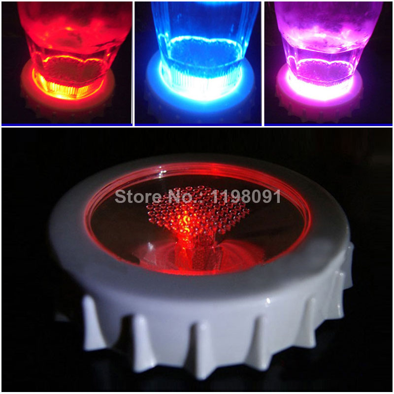 10pcs lot multi color changing wine glass led light coasters beer cap shape party luminous cup - Lighted coaster ...