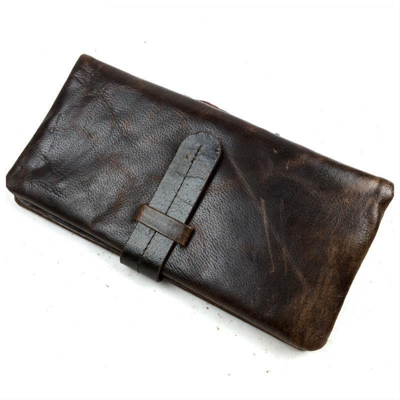 Luxury Brand High Quality 100% Top Genuine Oil Wax Cowhide Leather Men Long Bifold Wallet Purse Vintage Designer Male Carteira<br><br>Aliexpress
