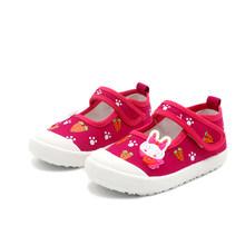 JGSHOWKITO בנות בד נעלי רך ספורט נעלי ריצת סניקרס צבעים בוהקים עם קריקטורה ארנב גזר הדפסי ילדים(China)