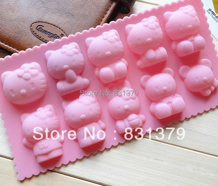 Hello kitty shape Muffin Sweet Candy Jelly fondant Cake chocolate Mold Silicone tool Ice mould Baking Pan DIY(China (Mainland))