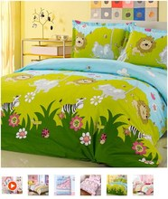 Free Shipping  home textile 100% Cotton cartoon bedding set children bedding set of 4pcs boy girl duvet cover set(China (Mainland))