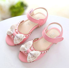 Retail Sandals For Girls Bowknot PU Leather Open Toe With Magic Stick Soft Sole For 2-18 Age Girls Shoes t-x032(China (Mainland))