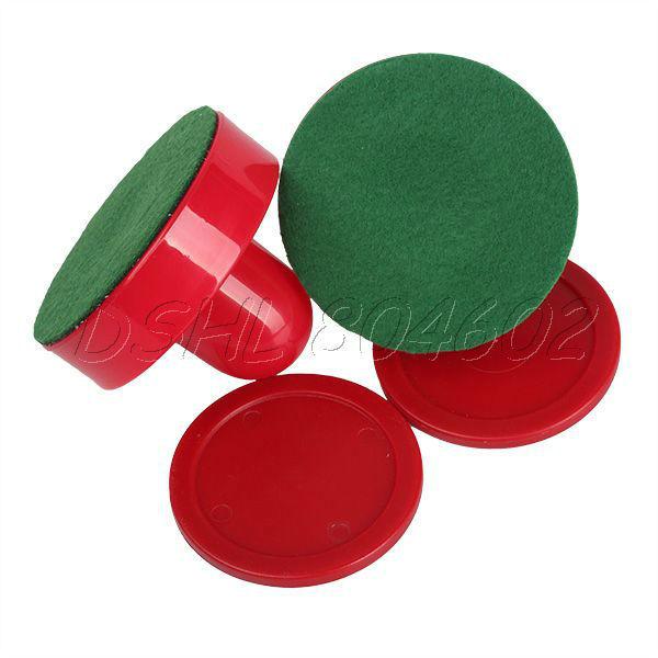 Educational 2PCS Red Table Hockey Pusher Handles Mallet Air Pucks