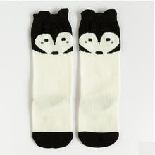 1pair cute cartoon fox mickey bear duck fashion design baby boy girl kids knee high socks for boys girls child brand new 0-6Y(China (Mainland))