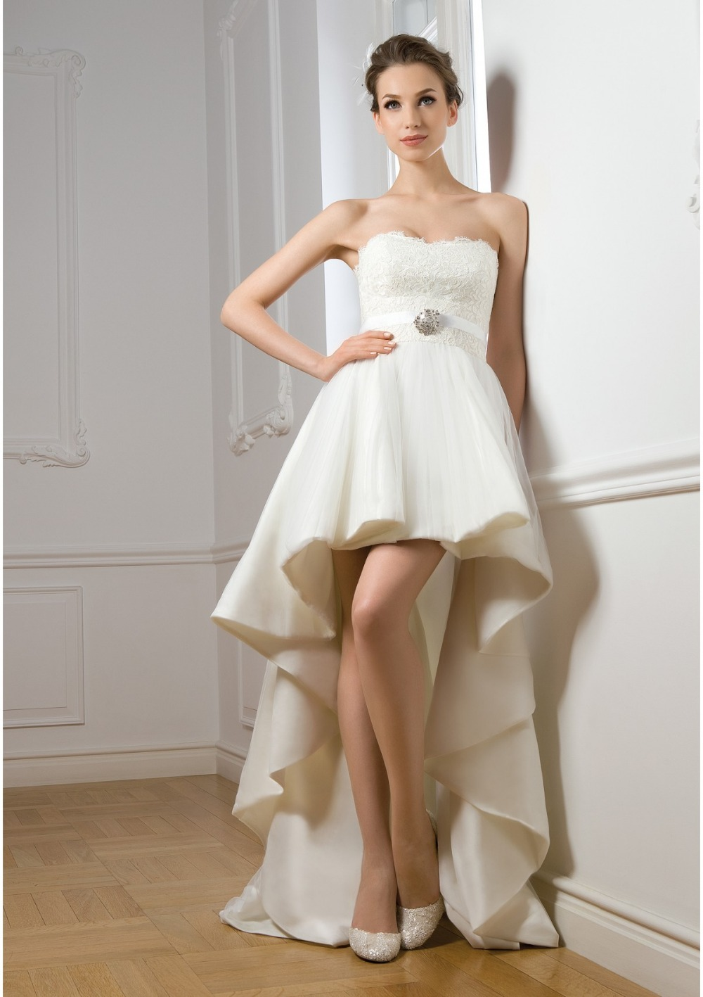 Buy hi low wedding dress with long train for Wedding dress high low