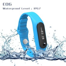 100% Original New 0.69 inch Touch Bluetooth 4.0 Smart Band TPU Waterproof IP67 Smart bracelet E06 Watch for apple Android phone