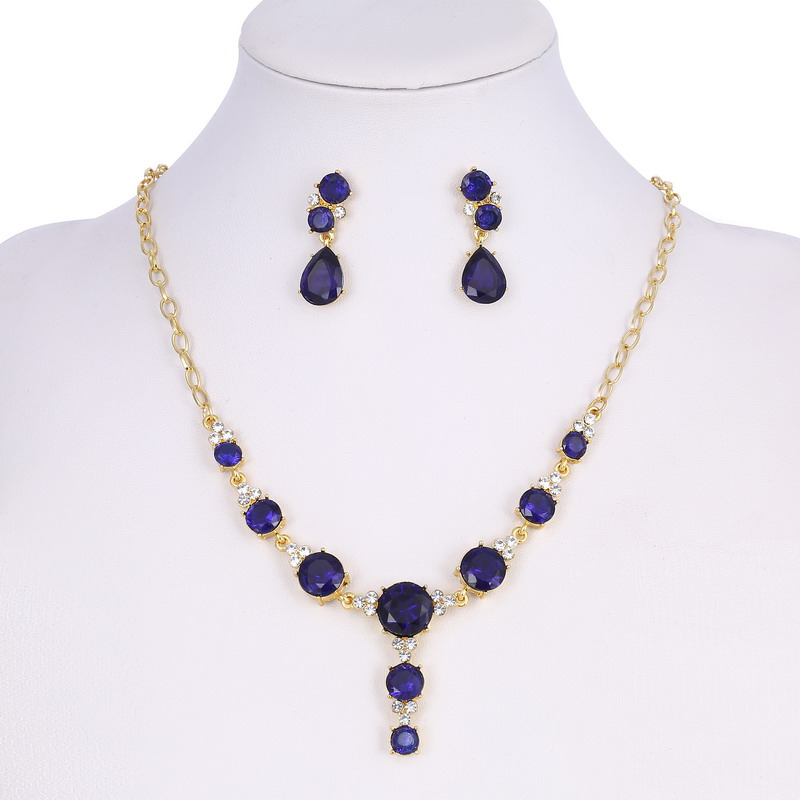 JR jewelry!Classic Navy Blue Water Drop Jewelry Sets Rhinestone Leaves Anniversary Party Earrings/Necklace(China (Mainland))