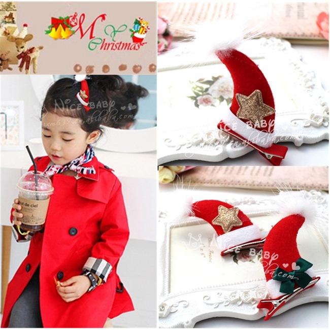 Christmas ornaments children Christmas hairpin Christmas ornaments Red horn sable hair bulb YJ196(China (Mainland))