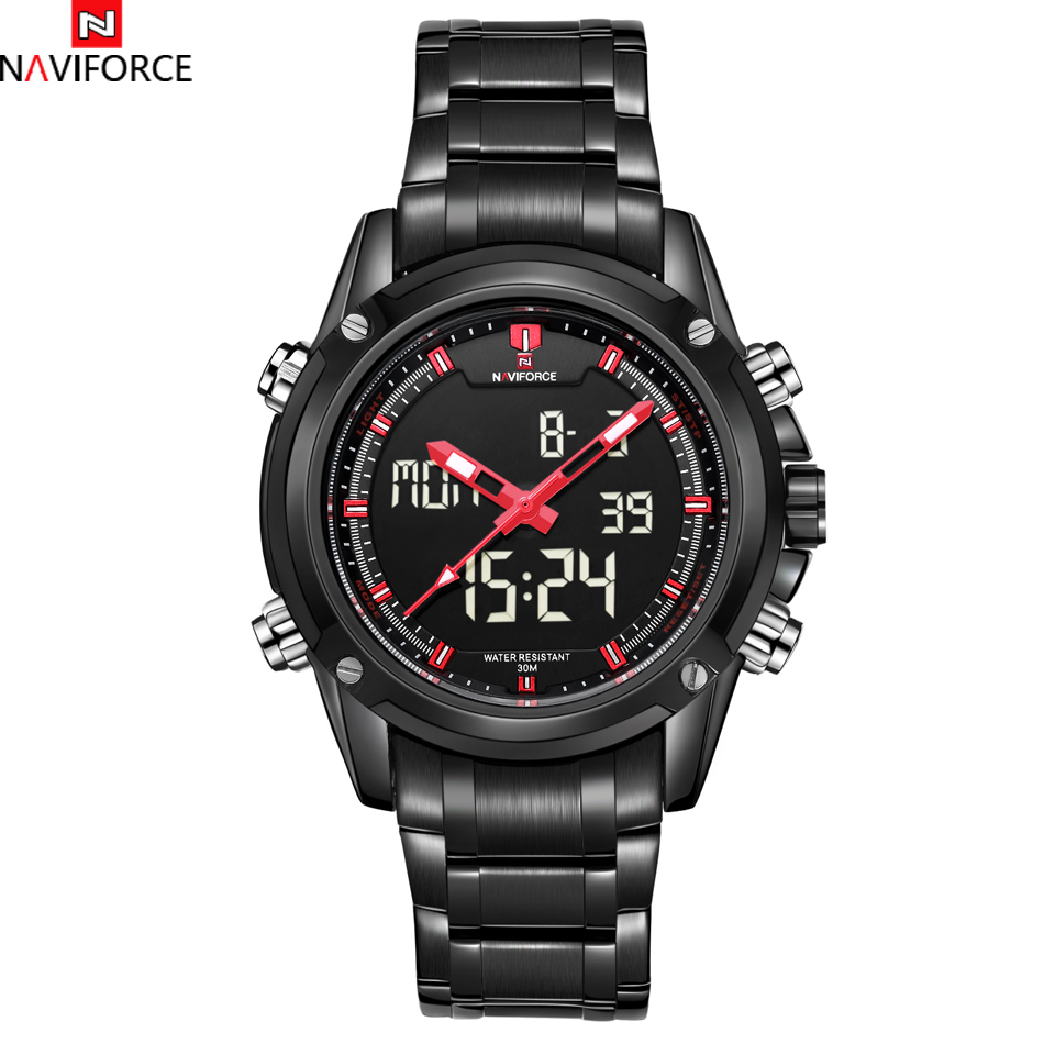 Watches LED Mens NAVIFORCE Sport Luxury Brand Digital Analog Date Mens Casual Full Steel Quartz Wristwatches relogio masculino<br><br>Aliexpress