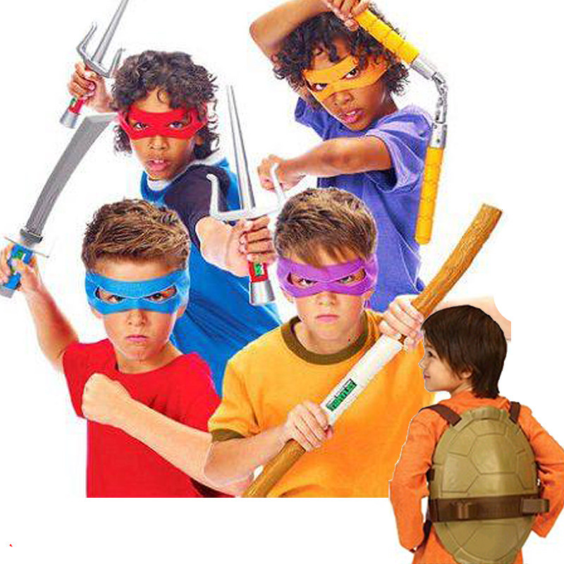 Child Costume party Teenage Mutant Ninja Turtles TMNT Weapon Cosplay Plastic Samurai Sword Turtle shell mask suit Toy kids gift(China (Mainland))