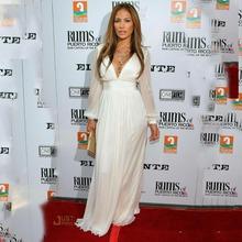 Nach Maß Jennifer Lopez 2016 Weiß Langarm V-ausschnitt Prom Kleider Die Oscars Celebrity Kleider Roter Teppich abendkleider(China (Mainland))