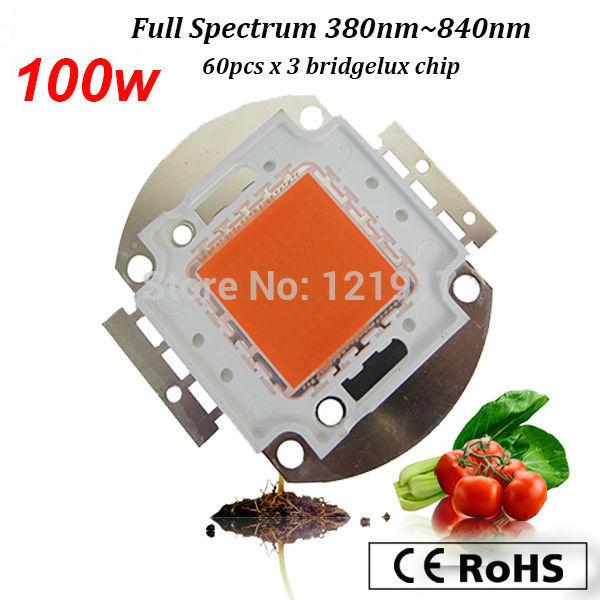100W LED Grow chip ,60pcs x 3w bridgelux ,full spectrum 380nm-840nm led grow lights for hydroponics ,DIY Led grow light(China (Mainland))