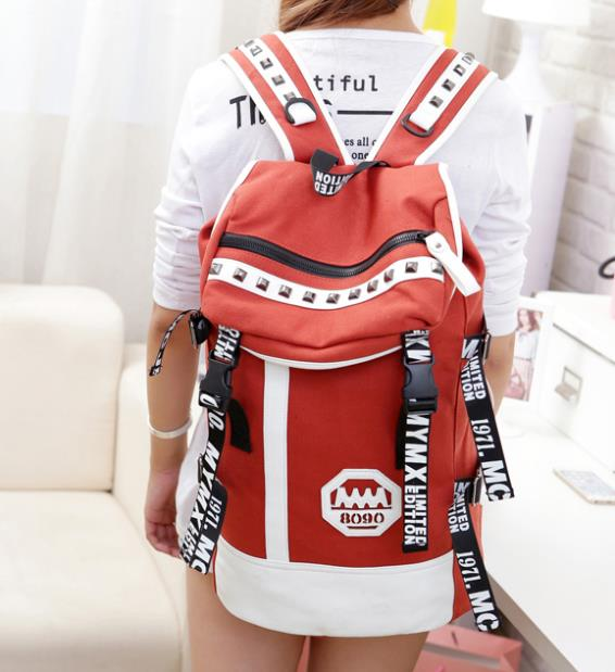 Squirrel fashion color block unisex hiking large general canvas computer casual drawstring daily backpack school travel bag(China (Mainland))