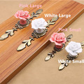 Rose Flower Pink White Ceramic Alloy Base Door Handles Kitchen Cupboard Closet Drawer Cabinet Knobs Single