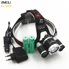 Boruit RJ-5000 8000LM 3*LED T6+2R5 Headlight Headlamp USB Power bank Rechargeable Torch Flashlight Lamp+18650 Battery+Charger(China (Mainland))