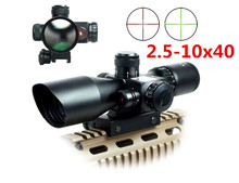 2.5-10x40 Tactical Luneta Para Rifle Scope Red Laser Dual illuminated Mil-dot Rail Mount Airsoft Riflescope Telescopic Sight(China (Mainland))