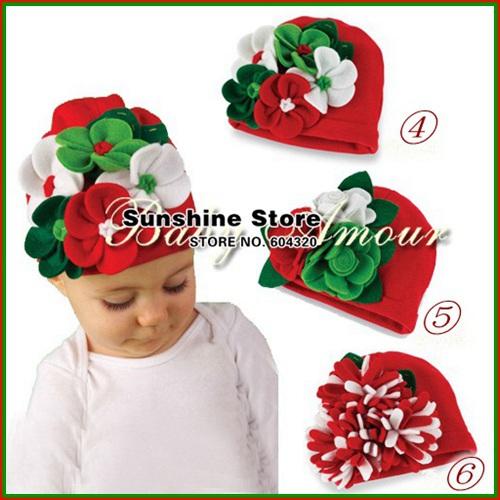 Bebé de Navidad sombreros para niños niñas niños grandes flor de lana fieltro de nino rojo