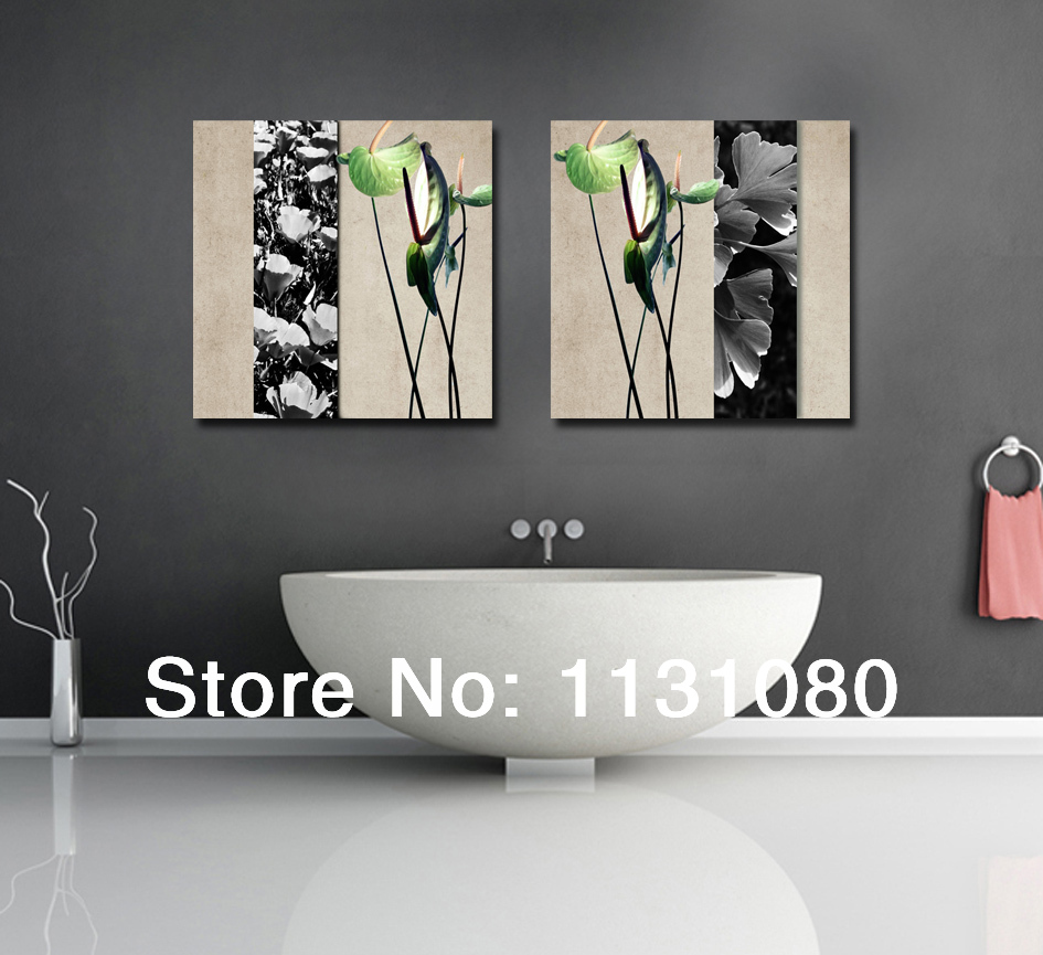 Buy no frame canvas only 2 pieces plant for Paintings for bathroom decoration