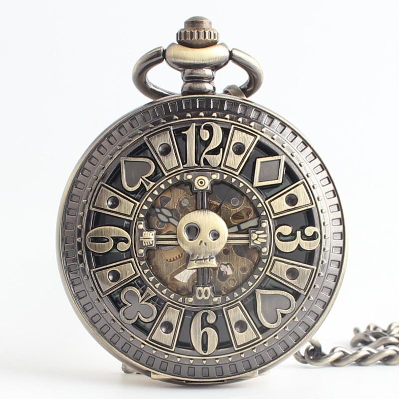 Макао механические часы классические мужские автоматическая памятные висит таблица покер флип полые коллекции Мемориал карманные часы