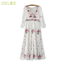 DELOS 2016 Women Summer Dress Retro Floral Embroidered Vintage White Hippie Boho Dresses Tunic Long Beach Maxi Dress Vestidos(China (Mainland))
