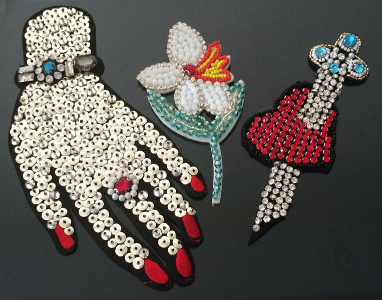 Hand beaded sequins patch applique vintage embroidery applique Clothing decoration patches sewing accessories(China (Mainland))