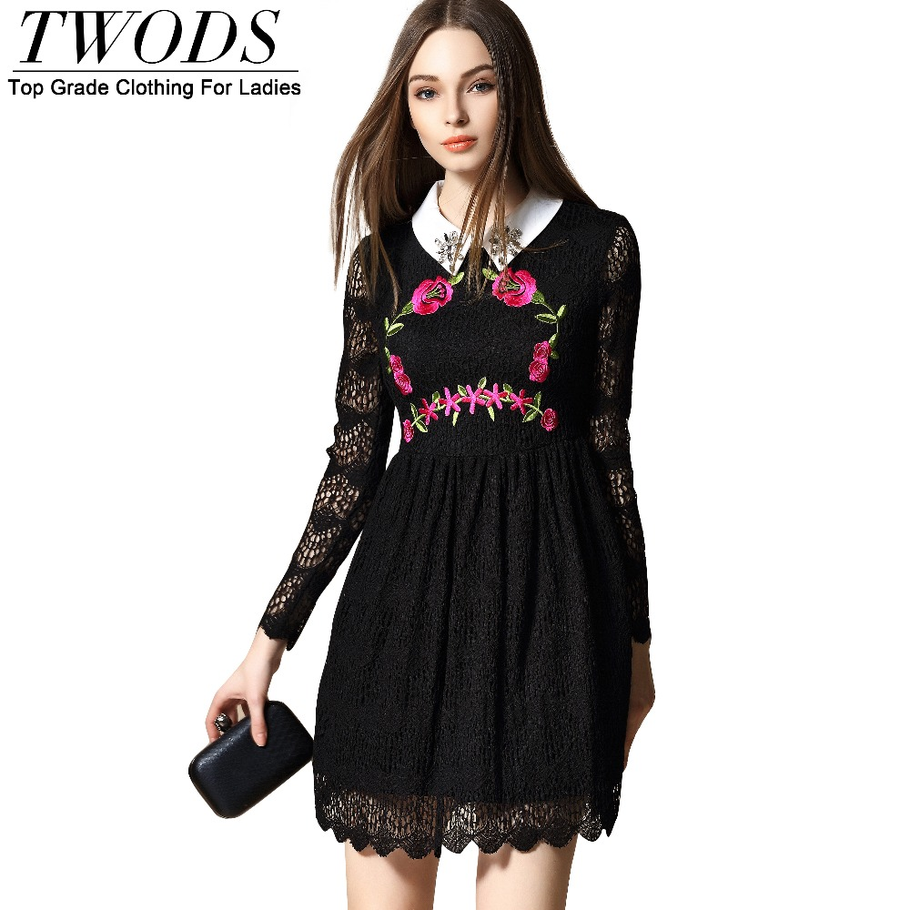 Twods 2016 New Spring Embroidery Long Sleeve Lace Dress Women Fit Flare Ladies Mini Party Dresses Turn Down Collar In Crystal