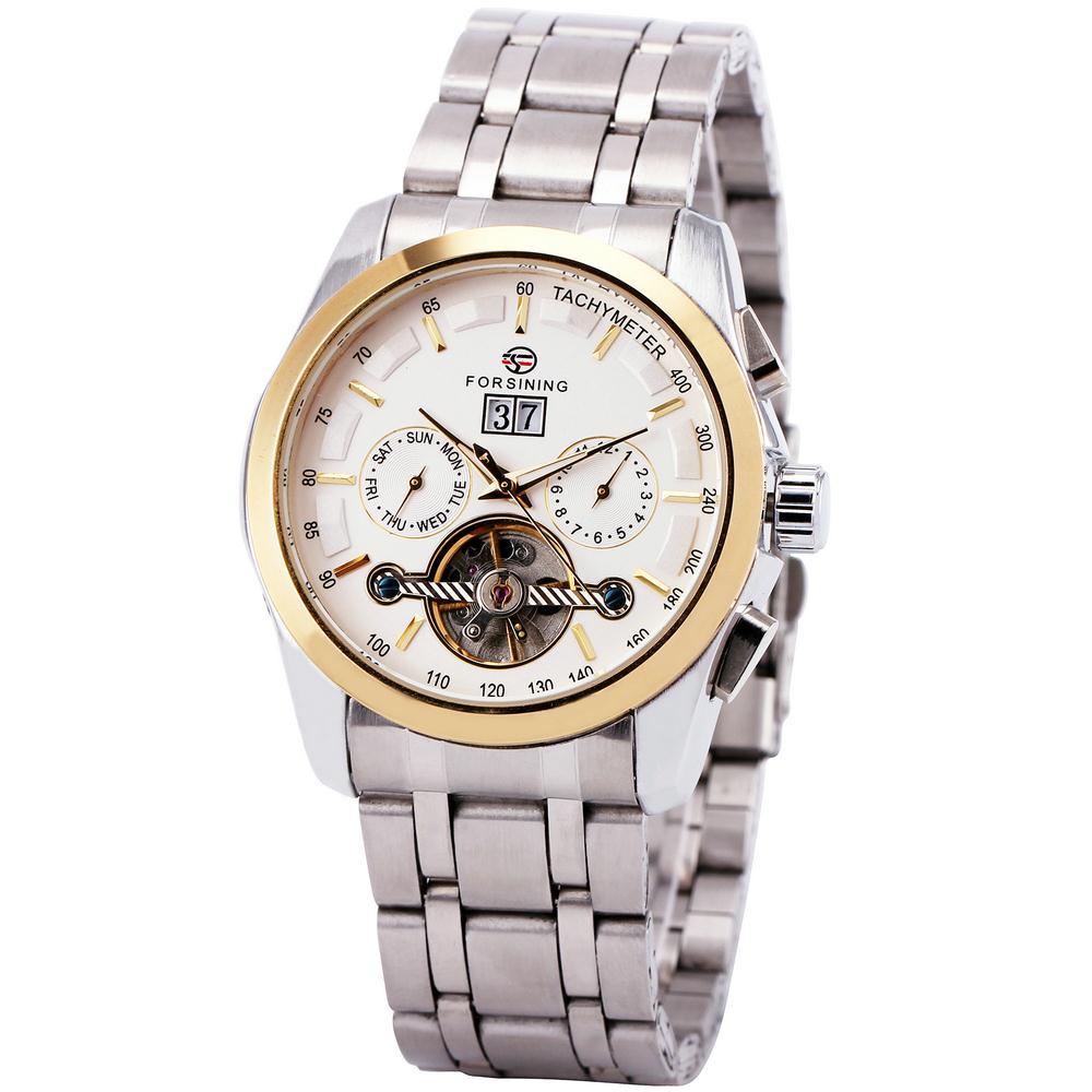 Winner Men Automatic Mechanical Wrist Watch Date Calendar Stainless Steel Strap Golden Case Vogue +Box<br><br>Aliexpress