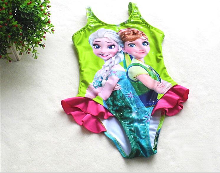 Free Shipping Wholesale Children Swimsuit Bikini Wear Anna Elsa Baby Girls  Swimwear Swimming Costumes Beachwear Party Green<br><br>Aliexpress