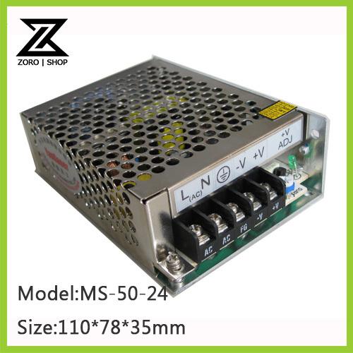 50W 24V 2.1A Mini-size switch mode LED Light Devices Switching Power Supply AC-DC PSU 100/110/220/230V MS-50-24<br><br>Aliexpress