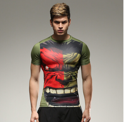 2015 hot sale green giant super hero batman iron man style compressed T-shirt male fitness quick dry T-shirt free shipping.(China (Mainland))