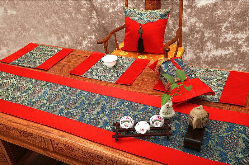 Thai Garden style luxury silk brocade table runner Jade table flag customization saphire blue wave with pure red(China (Mainland))