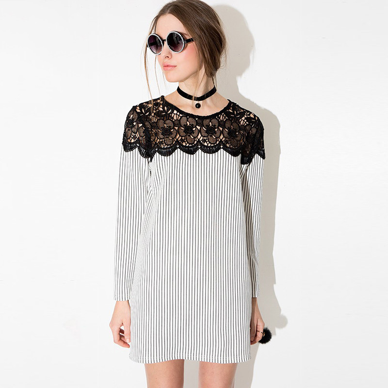 Hot Sale FaStriped Long Sleeve Plus Size Lace Dress Hollow Out Crochet Dress Back Zipper Sweets UK Girls Women's Dresses(China (Mainland))