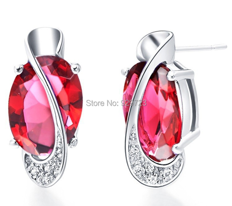 2015 New Fashion Simulated CZ Stud Earrings For Women Bijoux Silver -Plated 18KGP Color Duration 1 Year(China (Mainland))