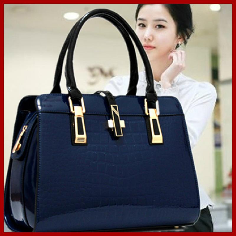 New 2015 Big Crossbody Bags For Women Crocodile Pattern Genuine Leather Black Bag Handbags Messenger Bag Lady Fashion Women Bag(China (Mainland))