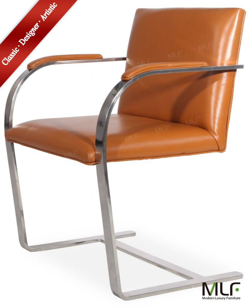"""MLF Brno Flat Chair. Brown Italian Leather. Highly Resilient Cushions. Tempered Stainless Steel, Bent """"C"""" Solid Flat Bar Frame.(China (Mainland))"""