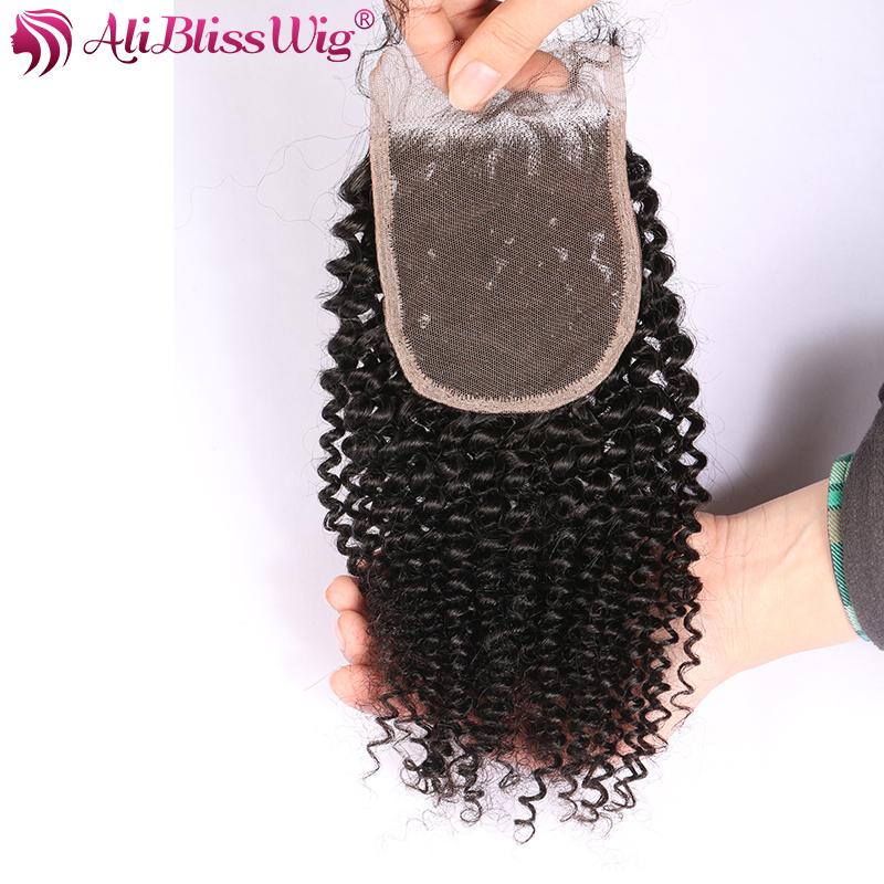 AliBlissWig 3.54 Kinky Curly Closure With Baby Hair Natural Color Free Part Brazilian Remy Hair 100% Human Hair Closure (2)