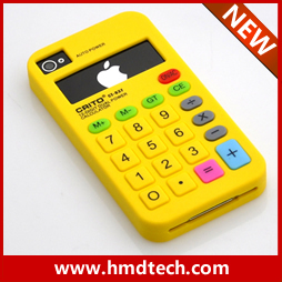 FREE SHIPPING 1 PCS Retail wholesale 2013 yellow Calculator design for iphone 4g/4s silicone case