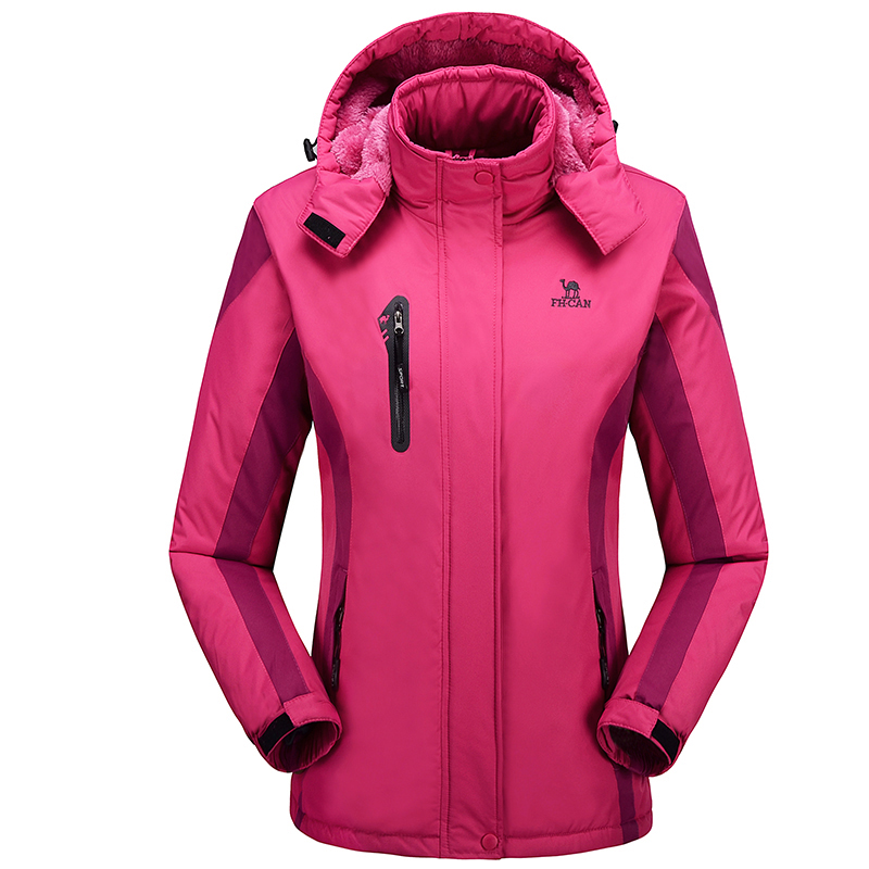 New Arrival Warm Winter Waterproof Women Jacket Rose Red Windproof Thermal Hiking Camping Ski Fleece Hooded Coat Skiing outwear(China (Mainland))