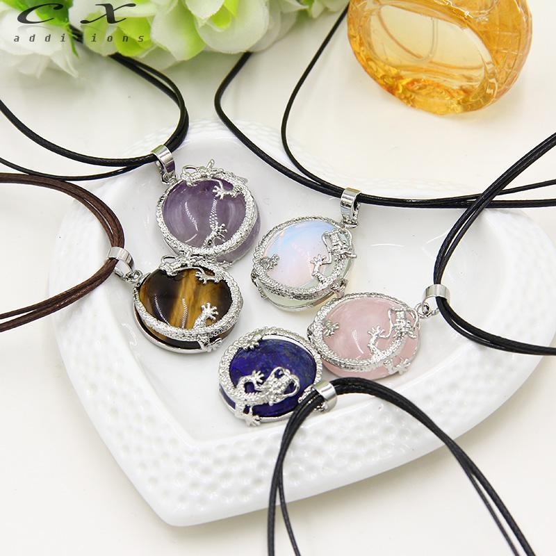 2016 factory round lucky dragon gem stone jewelry semi precious stone necklace pendants green stone mascot natural chakras stone(China (Mainland))
